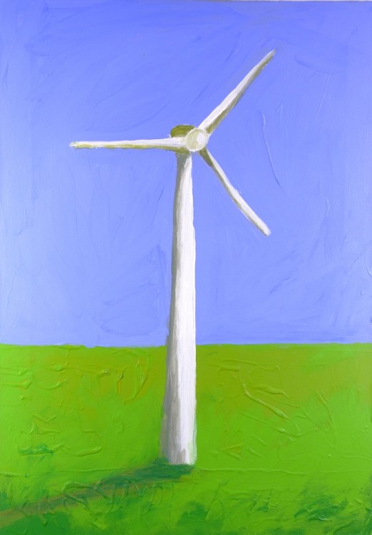 Windmolen, windmill, wind turbine, acrylverf, acrylic paint, doek, canvas, figuratief, Irene Bruns, Voorburg, 1971, Gerrit Rietveld Academie, theatervormgeving, artdirection, Amsterdam, beeldend uitdrukken,