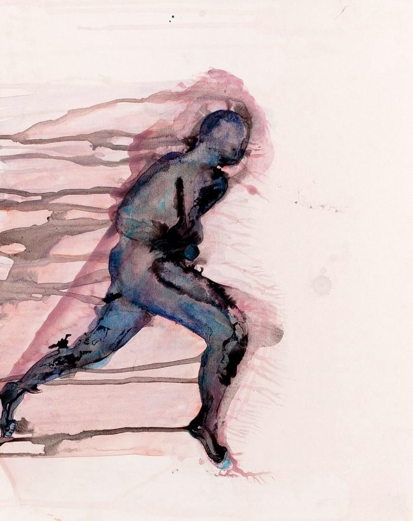 Warrior, bewegen, rennen, mens, inkt, karton, figuratief, Marina Metaal, Amsterdam, 1967, Gerrit Rietveld Academie Amsterdam, vrije richting, woont werkt in Amsterdam, inkt op papier,felle en contrastrijke kleuren, bijna geen kleur, transparante mensfigurenn schaduw,