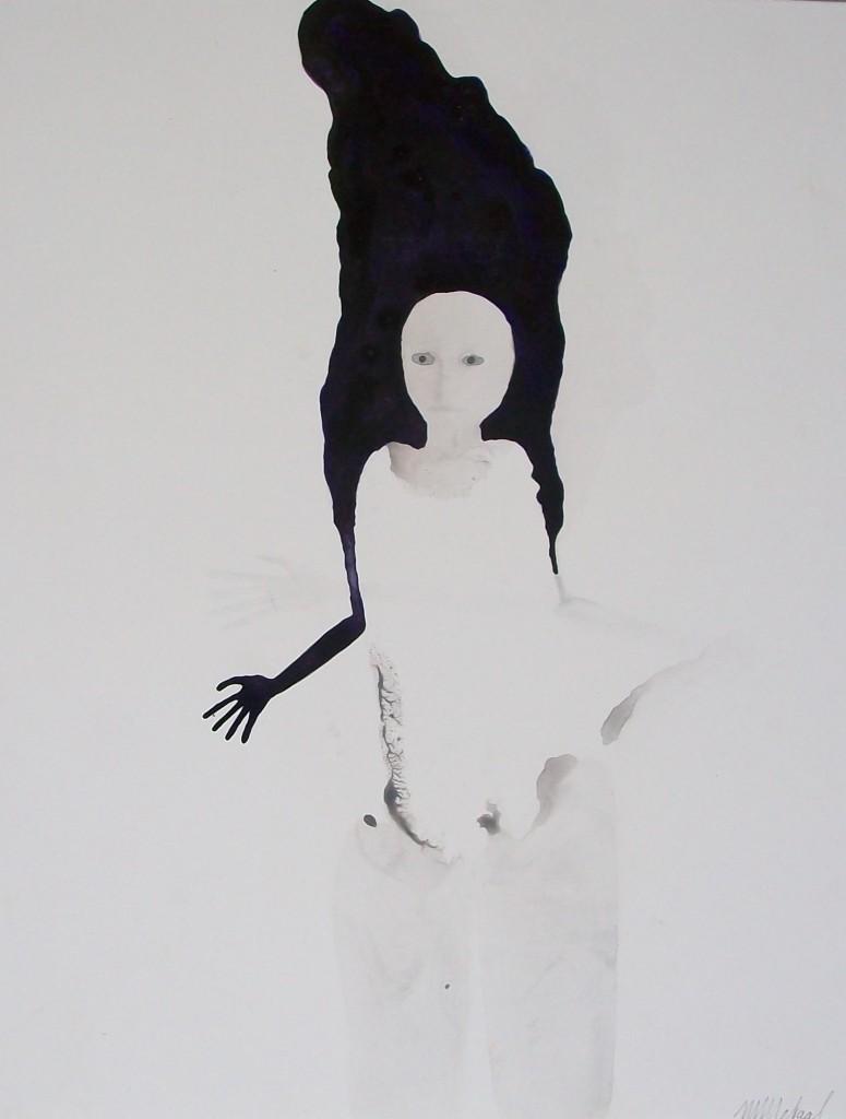 Zonder titel XX, inkt, karton, figuratief, mens, , Marina Metaal, Amsterdam, 1967, Gerrit Rietveld Academie Amsterdam, vrije richting, woont werkt in Amsterdam, inkt op papier,felle en contrastrijke kleuren, bijna geen kleur, transparante mensfigurenn schaduw,