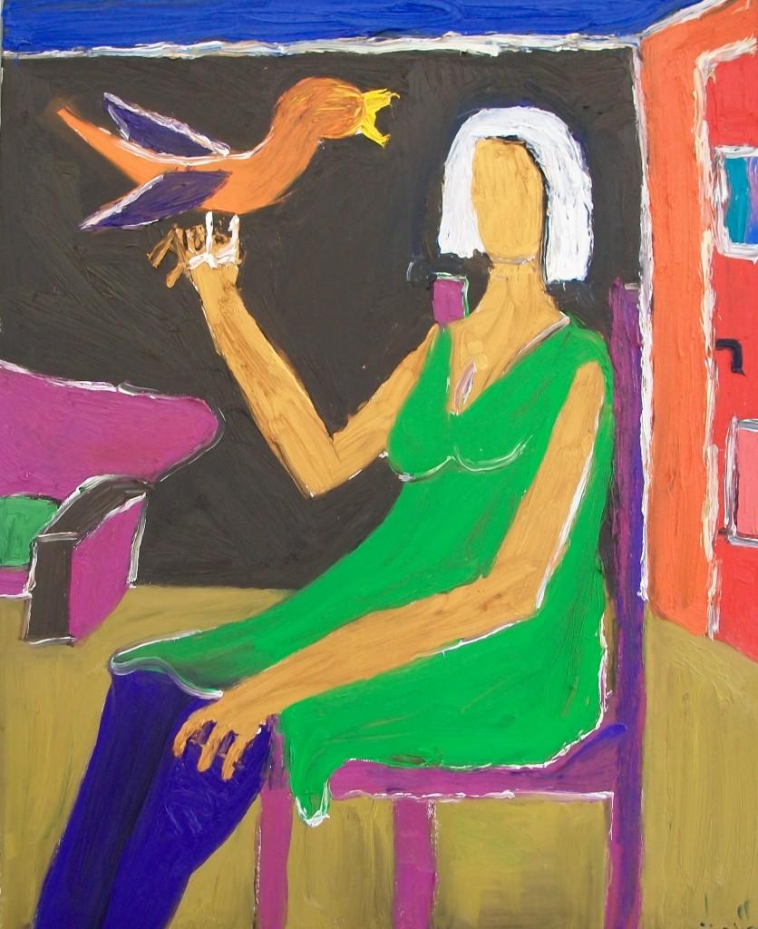Sandra met vogel