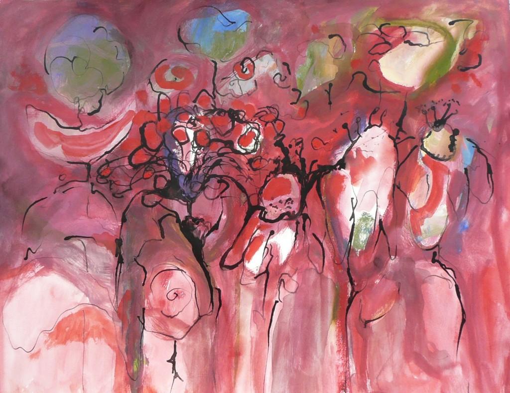 bloemen, mensen, dieren, de zee, dat het raakt, Bouwine Slager, figuratieve schilderijen, abstraherend karakter, organische vormen, explosief kleurgebruik, Warme, koude, aanstekelijke uitbundigheid, weelderige vormen, composities, overweldigend, levendig, ontdekkingsreis, grillig, onvoorspelbaar, lagen, olieverf, acrylverf, voelbaar maken, sfeer of emotie, Amsterdam, 1954, Gerrit Rietveld Academie, schilderen, grafiek, De Werkschuit, Stichting Creatieve Educatie, Usquert, Groningen, Bloemen VI