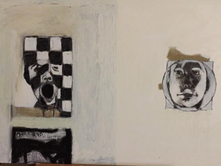 Irmlinda de Vries, 1969, Willem de Kooning Academie, Rotterdam, beeldende kunst, gedichten, Kunstkring Schoonoord Rotterdam, tekent, schildert, schrijft, melancholie, worsteling, innerlijke woestenij, romantiek, sprankeling, subtiele, zachte diepgang, Beeldend Gesproken, collectie, oilstick op doek. zwart, wit, grijstinten,voortvloeiende nuances, contrasten, grafische karakter, accentueren, krachtige verhalen, toeschouwer inwerken, relatief grote witruimtes, verstilde, desolate sfeer, eenzame strijd, existentiële zoektocht, Denkraam, dichtbundel, Het lied van de wachters van moeder aarde. ' Van achter een papieren muur' 'Vurige winterbloem''Dode egels op het grind', illustraties, Ludy Bührs.