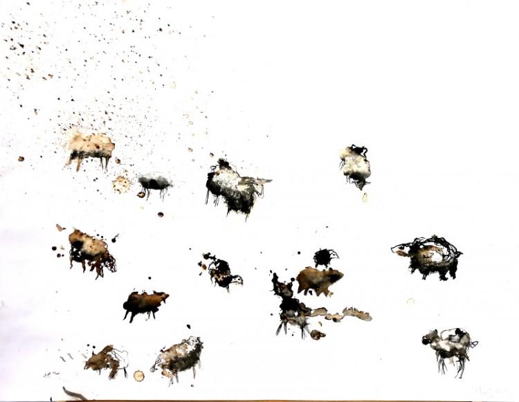 schaapjes 1, Marjanne Geurtsen, fotografie, schilder, glaskunst, inkt papier