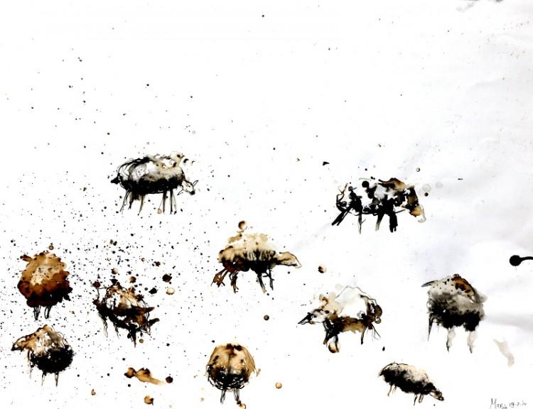 schaapjes 2, Marjanne Geurtsen, fotografie, schilder, glaskunst, inkt papier