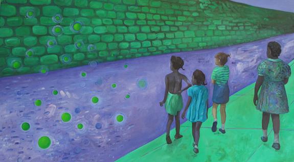 Wondering (after Helen Levitt)  |  2013 / 2014  |  90 x 160 cm  SPHERES - Atmospheric Panorama |  2012 / ...  |  mixed technique on linen