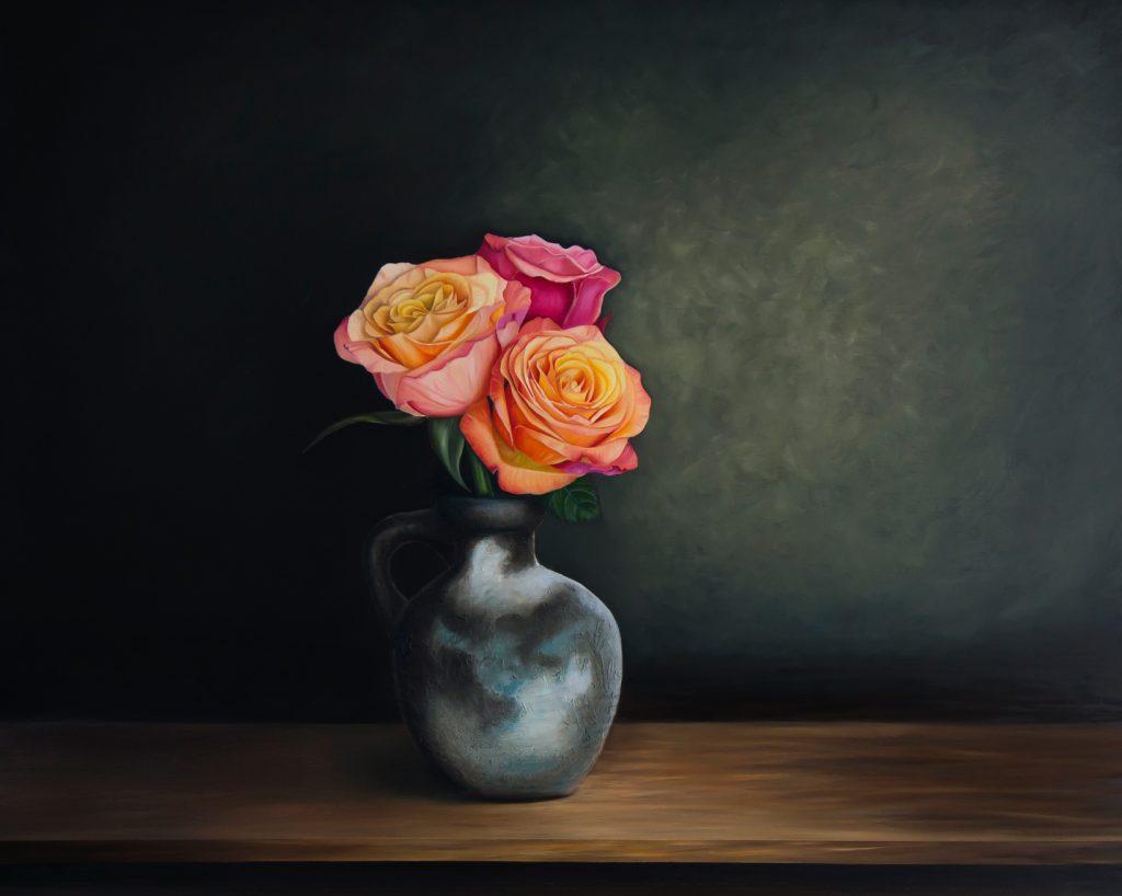 Stilleven met drie rozen